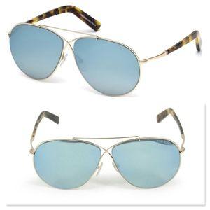New TOM FORD Blue Lens Oversize Aviator Sunglasses